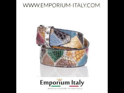 Cintura uomo/donna PRAGA C12, pitone certificato CITES, MULTICOLOR, Rino Dolfi, Made in Italy