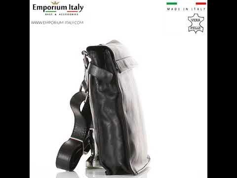 ETTORE : tracolla uomo in pelle morbida, colore : NERO, Made in Italy