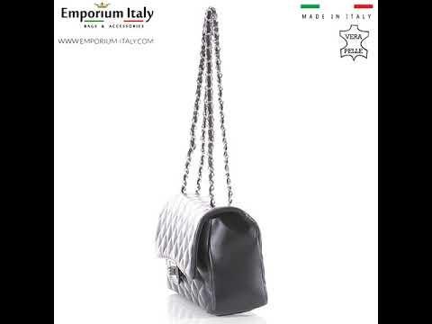 CHARLOTTE MEDIUM : borsa donna in pelle morbida, colore : GRIGIO, Made in Italy