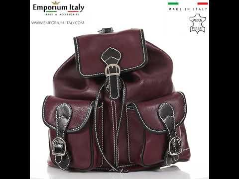 Borsa zaino donna in vera pelle MONTE FIOCCA, colore ROSSO/NERO, MAESTRI, MADE IN ITALY