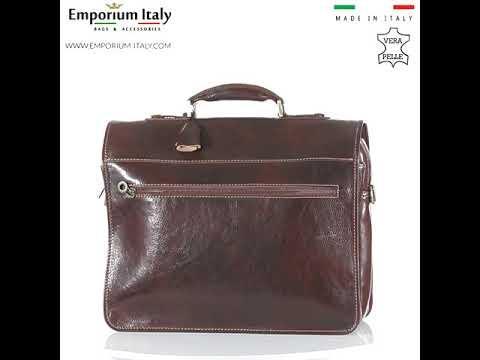 Borsa ufficio da uomo in vera pelle ANTONIO, colore TESTA DI MORO, ARIANNA DINI, MADE IN ITALY