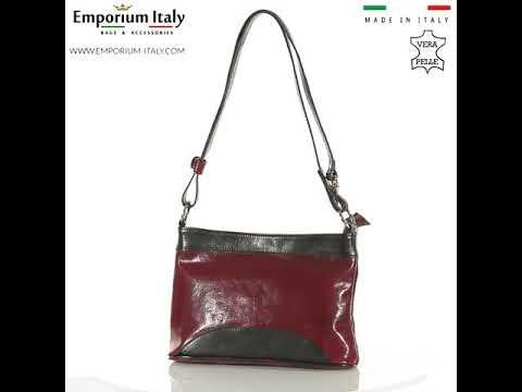 Borsa a spalla da donna in vera pelle GEMMA, colore ROSSO/NERO, RINO DOLFI, MADE IN ITALY