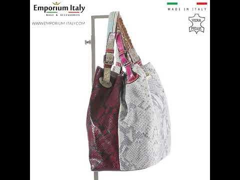 Borsa donna in vera pelle ZAHRA, colore BORDEAUX/BIANCO, EMPORIO TITANO, MADE IN ITALY