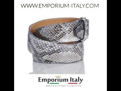 Cintura uomo BEIRUT C20, pitone certificato CITES, colore NER/BIANC/MARR, ELIO ZAGATO, Made in Italy