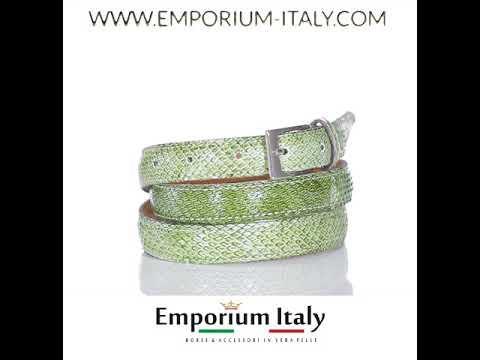 Cintura donna AMALFI vera pelle pitone certificato CITES, colore VERDE, RINO DOLFI, Made in Italy