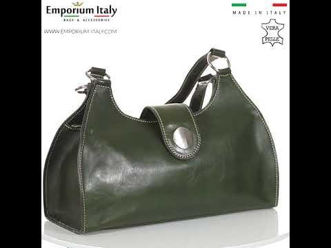 Borsa donna in vera pelle RINO DOLFI mod. LUNA big colore VERDE Made in Italy