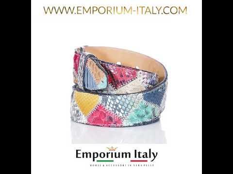 Cintura uomo/donna PRAGA C11, pitone certificato CITES, MULTICOLOR, Rino Dolfi, Made in Italy