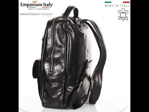 Borsa zaino uomo/donna in vera pelle MONTE VETTORE, colore NERO, DELIA REI, MADE IN ITALY