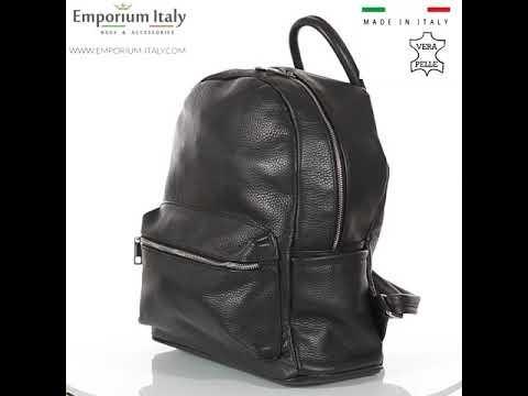 Borsa zaino donna in vera pelle MONTE AMARO, colore NERO, DELIA REI, MADE IN ITALY