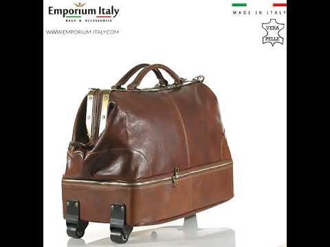 Borsone da viaggio in vera pelle BRAIES, colore MARRONE, MAESTRI, MADE IN ITALY