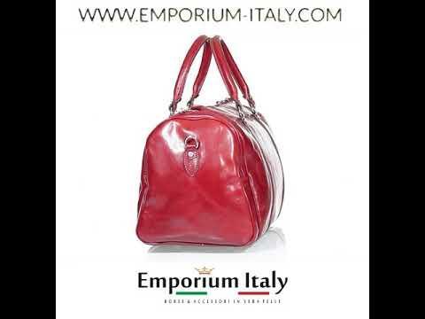 Borsone viaggio ADDA in vera pelle colore ROSSO, RINO DOLFI, Made in Italy