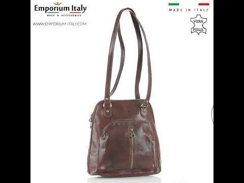 Borsa zaino donna in vera pelle MONTE CRISTALLO, colore MARRONE, MAESTRI, MADE IN ITALY