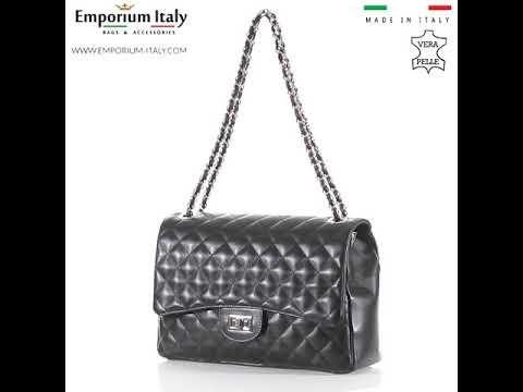 CHARLOTTE MAXI: borsa donna in pelle morbida, catene silver, colore : NERO, Made in Italy