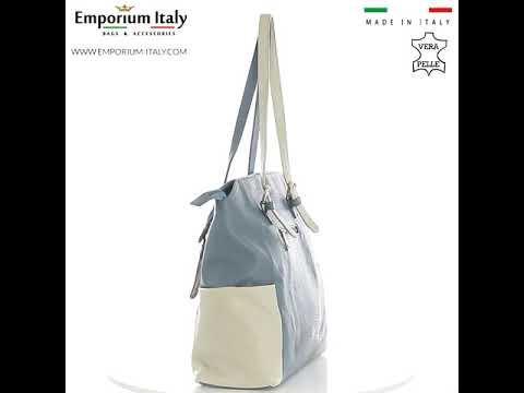 Borsa a spalla da donna in vera pelle CLERY, colore AZZURRO/PANNA, CHIARO SCURO, MADE IN ITALY