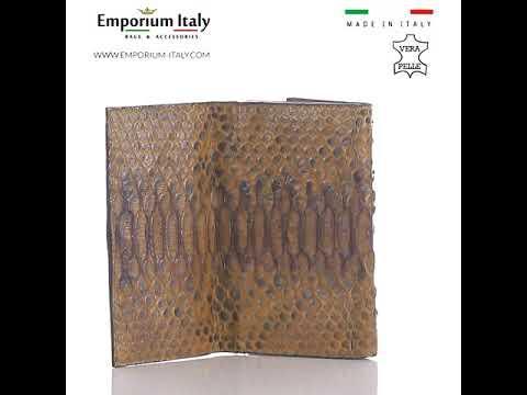 Portafoglio donna in pelle di pitone GIACINTO cert CITES, MIELE, interno TESTA MORO MADE IN ITALY