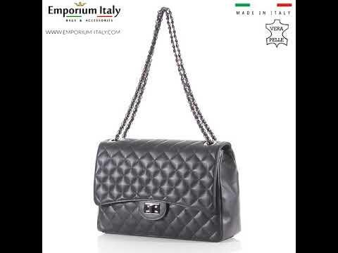 CHARLOTTE MAXI: borsa donna in pelle morbida, catene canna di fucile, colore : NERO, Made in Italy