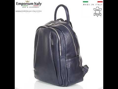 Borsa zaino donna in vera pelle MONTE VELINO, colore BLU, MAESTRI, MADE IN ITALY