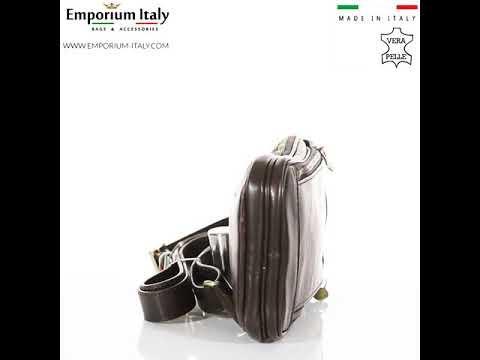 Tracolla uomo in vera pelle PAOLO, colore TESTA MORO, MAESTRI, MADE IN ITALY