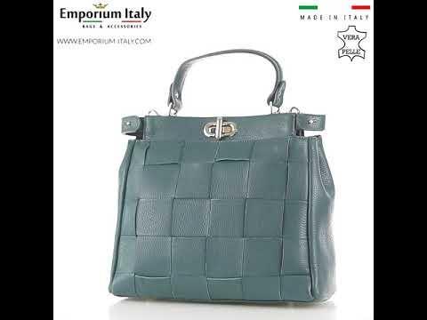 Borsa a mano da donna in vera pelle DALILA, colore AZZURRO, CHIARO SCURO, MADE IN ITALY