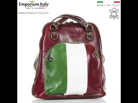 Borsa zaino donna in vera pelle MONTE CRISTALLO, TRICOLORE BANDIERA ITALIANA, MAESTRI, MADE IN ITALY