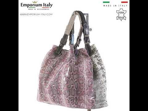 Borsa donna in vera pelle ZAHRA, colore ROSA/BIANCO, EMPORIO TITANO, MADE IN ITALY