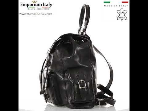 Borsa zaino donna MONTE FALTERONA, in vera pelle sauvage, NERO, MAESTRI, Made in Italy.