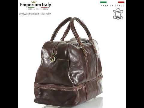 OMODEO : borsa da viaggio in cuoio, colore : TESTA MORO, Made in Italy