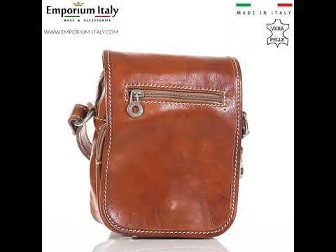 Borsa tracolla uomo in vera pelle morbida LORENZO, colore MIELE, MADE IN ITALY
