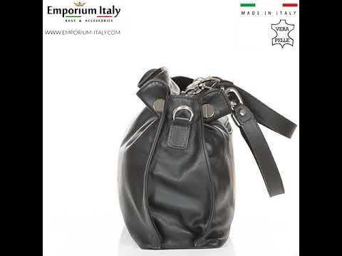 Borsa donna in vera pelle ADELINA, colore NERO,CHIARO SCURO, MADE IN ITALY