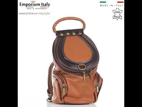 Borsa zaino donna in vera pelle MONTE HALLA, colore MIELE/TESTA MORO, EMPORIO TITANO, MADE IN ITALY