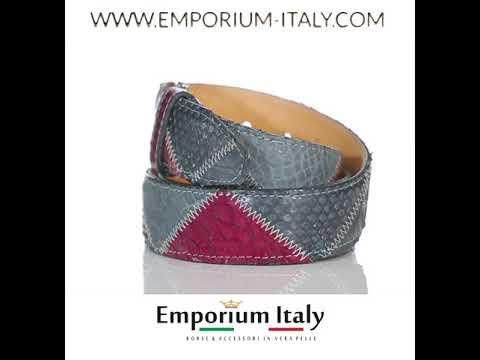 Cintura uomo TRIPOLI C33,vera pelle pitone certificato CITES, BLU/ROSSO, Rino Dolfi, Made in Italy