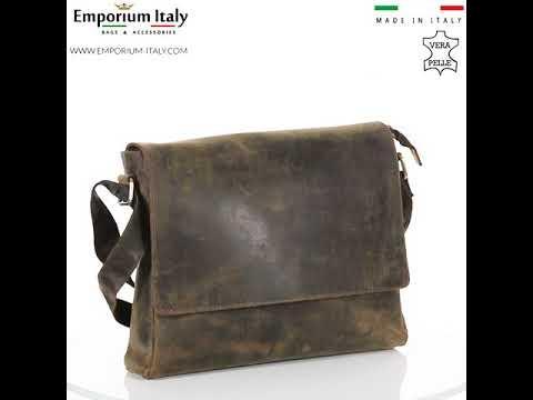 Borsa a tracolla da uomo in vera pelle nabuk GIOELE, colore MARRONE, MAESTRI, MADE IN ITALY