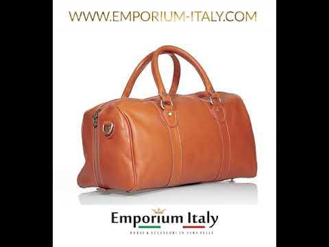 Borsa viaggio NILO SMALL in vera pelle primo fiore, colore MIELE, RINO DOLFI, made in Italy