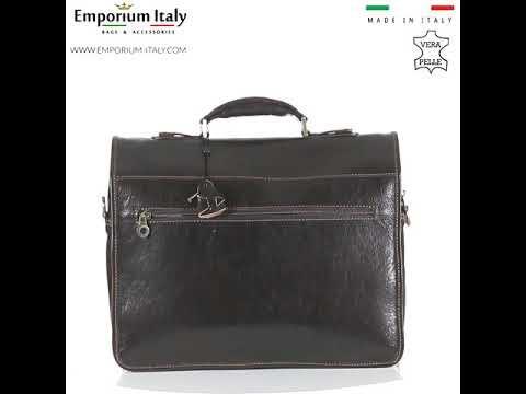 Borsa ufficio da uomo in vera pelle ANTONIO, colore NERO, ARIANNA DINI, MADE IN ITALY