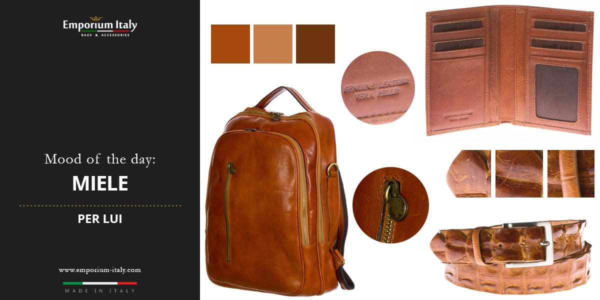 Moodboard: colore miele per lui - zaino, portafoglio e cintura